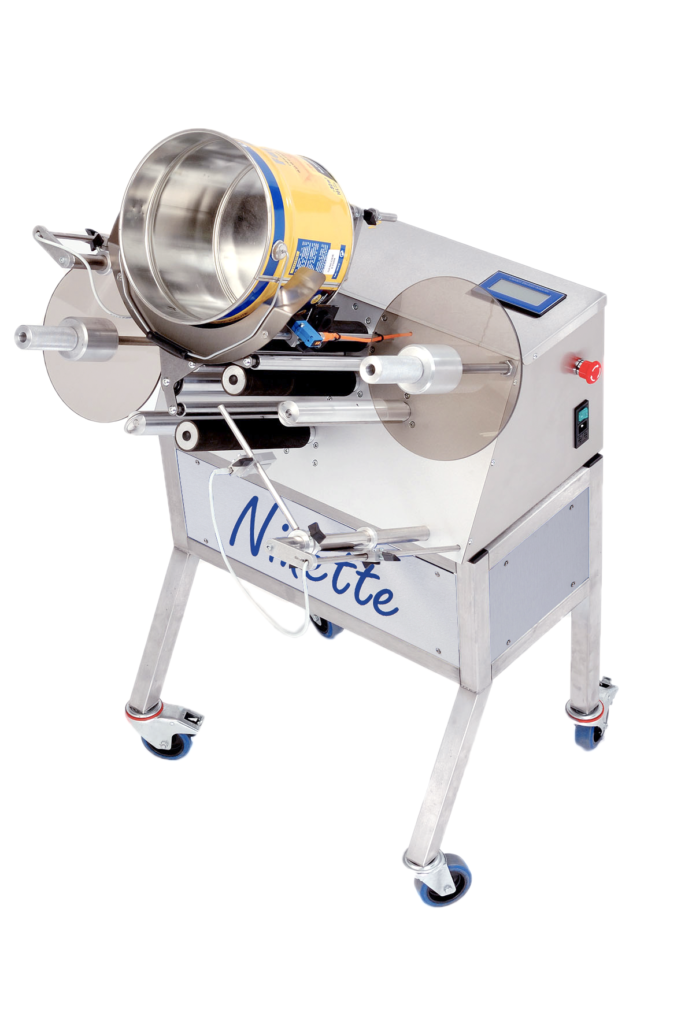 Ninette Pails Products, CDA's semi-automatic paint bucket labelling machine