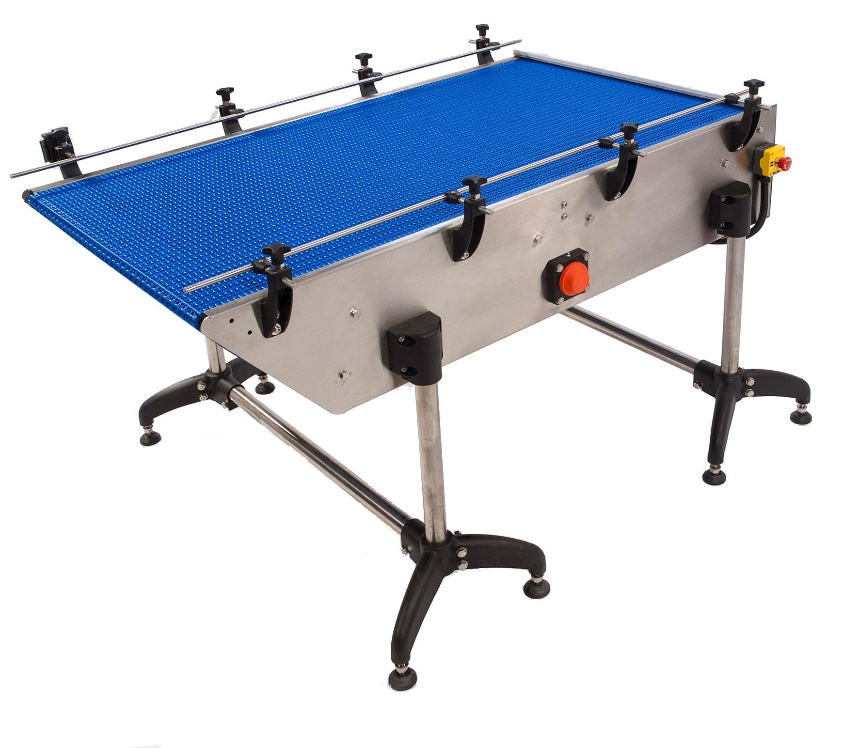 Tisch zur Be- und Entladung über modulare Förderbänder
