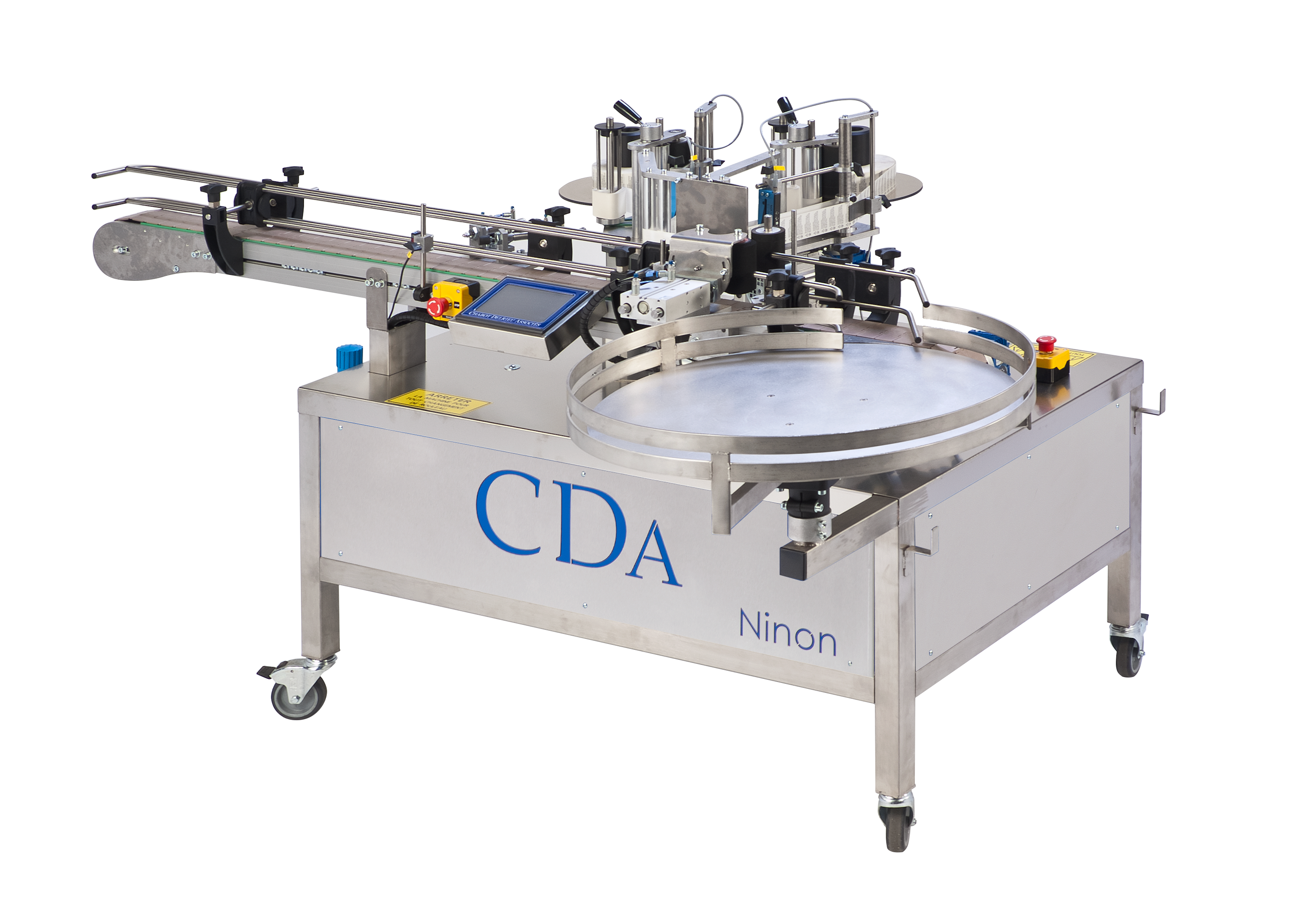 Automatic labelling machine for any size of e-liquid bottles